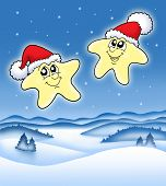 Christmas Stars On Starry Sky