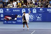 KUALA LUMPUR - SEP 28: Kei Nishikori (Japan) waves to the crowd after his quarter-final match at the