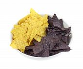 Yellow And Blue Corn Tortilla Chips
