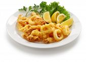 fried calamari, fried squid with lemon
