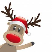 stock photo of antlers  - rudolph reindeer red nose wave santa claus - JPG