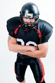 American Football-Spieler in Helm