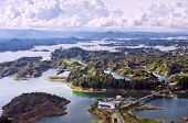 picture of hydro-electric  - Aerial View of Beautiful Guatape Lake - JPG