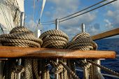stock photo of wind wheel  - Tackle a sailing ship on a background of ocean and sky - JPG