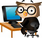 Illustration of an Owl Sitting in Front of a Desktop Computer