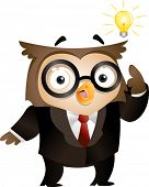 Illustration of an Owl with a Lighted Lightbulb Hovering Around His Head