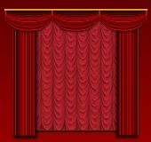 Stage Curtains With Ornate Backdrop And Wall.