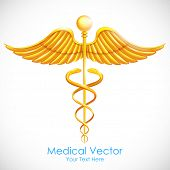 illustration of medical symbol gold caduceus