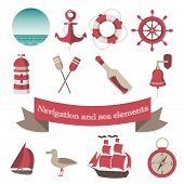 image of nautical equipment  - navigation and sea icons and elements with an anchor - JPG