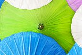 Close up of colorful umbrellas, Art and craft from Chiang Mai,Thailand.