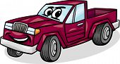 Pickup Car Character Cartoon Illustration