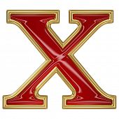 picture of letter x  - Ruby red with golden outline alphabet letter symbol  - JPG