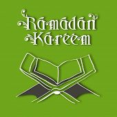 Muslim community holy month of Ramadan Kareem background with  open Islamic religious holy book Qura