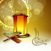 picture of islamic religious holy book  - Arabic Islamic calligraphy of text Ramadan Kareem with open Islamic religious holy book Quran Shareef and illuminated lamp on golden clock background - JPG