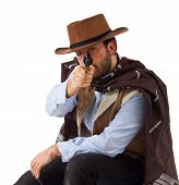 image of gunslinger  - Bad gunslinger  in the old wild west on white background - JPG