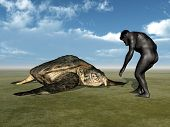pic of habilis  - Computer generated 3D illustration with Homo Habilis and Archelon - JPG