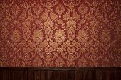stock photo of gobelin  - This is Red retro interior with floral ornament - JPG