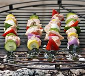 Ham Kabobs Cooking On The Grill