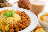 Biryani rice or pilau rice, fresh cooked basmati rice with spices, delicious Indian food.