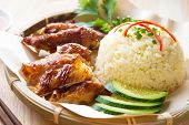 stock photo of chinese parsley  - Malaysia grilled chicken rice - JPG