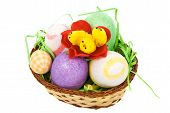 Easter Basket With Eggs And Chicken