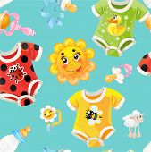 Bright Seamless Background Of Children's Clothes And Toys