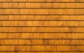 stock photo of shingle  - Cedar shingles redwood patterned rustic background texture - JPG