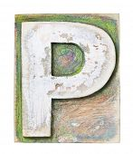 Wooden alphabet block, letter P