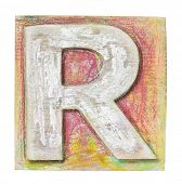 Wooden alphabet block, letter R