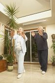 Senior couple doing Tai Chi indoors