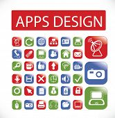 application, apps, mobile interface, web design icons, signs set, vector