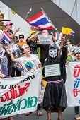 BANGKOK,THAILAND- JUNE 30 : Unidentified protesters, V for Thailand group, wear Guy Fawkes masks to protest government corruption on June 30,2013 in Bangkok,Thailand.