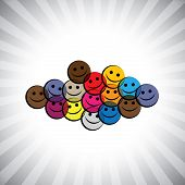 Colorful Happy Smiling Kids(children) Faces- Simple Vector Graphic.
