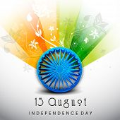 pic of indian independence day  - Creative Indian Independence Day background with Ashoka Wheel on national flag tricolors background - JPG