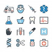 Ambulancia icons set de colores