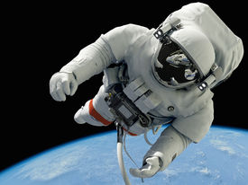 foto of spaceman  - The astronaut on a background of a planet   - JPG