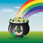 stock photo of end rainbow  - Nice summer landscape with pot of gold on the end of the rainbow - JPG