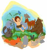 image of tarzan  - A cute jungle boy is reading book to animals in the wood create by vector - JPG