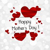 pic of i love you mom  - Creative Happy Mothers Day Card with Hearts vector illustration - JPG
