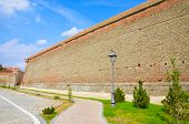 Brick wall of medieval fortress of Alba Iulia
