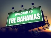 Billboard Welcome to the Bahamas at Sunrise.