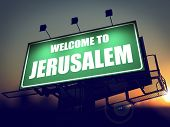 Billboard Welcome to Jerusalem at Sunrise.