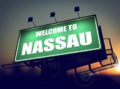 Billboard Welcome to Nassau at Sunrise.