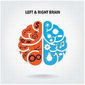 stock photo of left brain  - Creative left brain and right brain Idea concept background  - JPG
