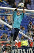BARCELONA - MARCH, 29: Jose Manuel Pinto of FC Barcelona warm up before a Spanish League match again