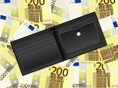 Wallet On Two Hundred Euro Background