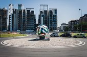 Huge Brazuca Official Match Ball In The Middle Of A Roundabout In Milan, Italy