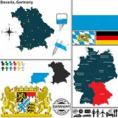 foto of bavaria  - Vector map of state Bavaria with coat of arms and location on Germany map - JPG