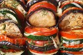 Background Of Baked Eggplant, Tomatoes And Zucchini