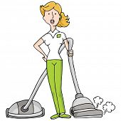 An image of female housekeeper with a vacuum.
